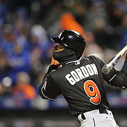 NEW YORK, NEW YORK - APRIL 12: Dee Gordon, Miami Marlins, best a his off pitcher Jim Henderson, New York Mets, during his sixteen pitch at bat during the Miami Marlins Vs New York Mets MLB regular season ball game at Citi Field on April 12, 2016 in New York City. (Photo by Tim Clayton/Corbis via Getty Images)