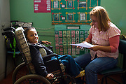 Ribeirao das Neves_MG, Brasil...Tecnica de comunicacao utilizada na Escola Estadual Pedro Fernandes para um aluno com paralisia celebral comunicar com professores e colegas...The communication technique used by the State School Pedro Fernandes for a student with cerebral palsy communicate with teachers and colleagues...Foto: LEO DRUMOND / NITRO