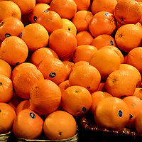Navel Oranges Stacked on Display at Farmers Market in Vancouver, Canada