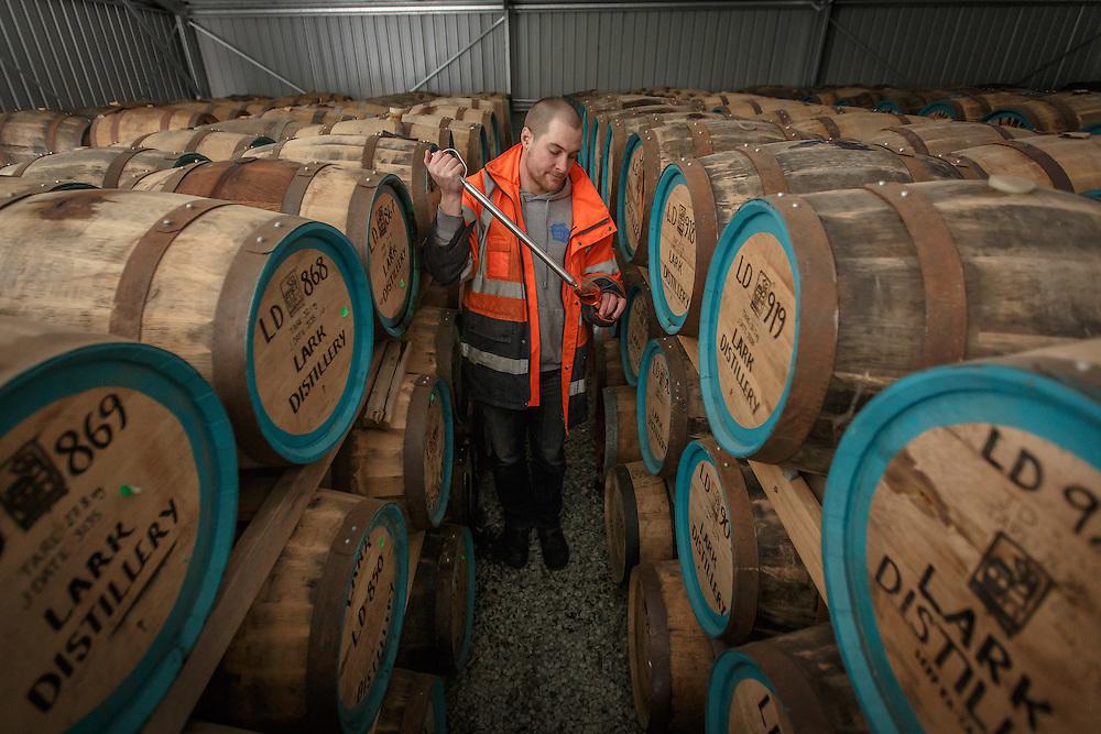 Lark Distillery master distiller Chris Thompson samples whisky at Lark Distillery in Hobart, Tasmania, August 25, 2015. Gary He/DRAMBOX MEDIA LIBRARY