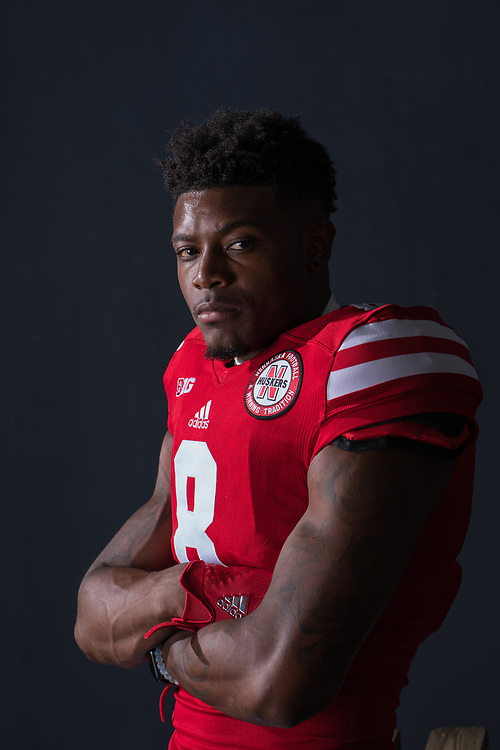 Stanley Morgan Jr. #8 during a portrait session at Memorial Stadium in Lincoln, Neb. on June 7, 2017. Photo by Paul Bellinger, Hail Varsity