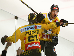 07.04.2019, Albert Schultz Halle, Wien, AUT, EBEL, Vienna Capitals vs EC Red Bull Salzburg, Halbfinale, 5. Spiel, im Bild v.l. Torjubel Riley Holzapfel (spusu Vienna Capitals) und Sondre Olden (spusu Vienna Capitals) // during the Erste Bank Icehockey 5th semifinal match between Vienna Capitals and EC Red Bull Salzburg at the Albert Schultz Halle in Wien, Austria on 2019/04/07. EXPA Pictures © 2019, PhotoCredit: EXPA/ Thomas Haumer