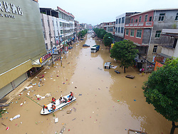 QUANZHOU, Sept. 16, 2016 (Xinhua) -- Rescuers relocate trapped local residents in Nan'an, southeast China's Fujian Province, Sept. 16, 2016. Disaster relief and reconstruction were launched after Typhoon Meranti swept away and left severe damages. (Xinhua/Jiang Kehong) (cxy) (Credit Image: © Jiang Kehong/Xinhua via ZUMA Wire)