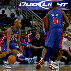 Dec 16, 2009; New Orleans, LA, USA;  Detroit Pistons guard Chucky Atkins (17) controls the ball against the Detroit Pistons during the first half at the New Orleans Arena. Mandatory Credit: Derick E. Hingle-US PRESSWIRE