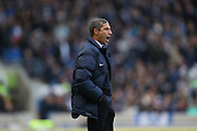 Brighton Manager, Chris Hughton shouting during the EFL Sky Bet Championship match between Brighton and Hove Albion and Fulham at the American Express Community Stadium, Brighton and Hove, England on 26 November 2016.