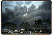 Fire approaches the township of Anakie near Geelong, Victoria, Australia.