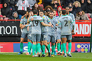 GOAL - 0-2. Blackburn Rovers defender Tosin Adarabioyo (24) celebrates with teammates after scoring a goal during the EFL Sky Bet Championship match between Charlton Athletic and Blackburn Rovers at The Valley, London, England on 15 February 2020.
