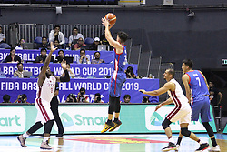 September 17, 2018 - Quezon City, NCR, Philippines - Matthew Wright (Blue) of the Philippines tries to shoot the ball over defenders Tanguy Alban H Ngombo (8, White) and Mohamed Hassan A Mohamed (1, White) of Qatar. (Photo by Dennis Jerome Acosta/ Pacific Press) (Credit Image: © Dennis Jerome S. Acosta/Pacific Press via ZUMA Wire)