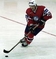 Icehockey. Qualification Olympic Games. Norway-Germany 8 january 2001. Norge-Tyskland, Jordal Amfi. Mats Trygg, Norge.