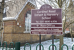 © Licensed to London News Pictures. 19/03/2018. London, UK.  Cardinal Road School in Feltham, west London, asked parents to collect their children after it was evacuated following a bomb threat hoax. It is being reported a number of UK schools were emailed a hoax bomb threat this morning. Photo credit: Peter Macdiarmid/LNP
