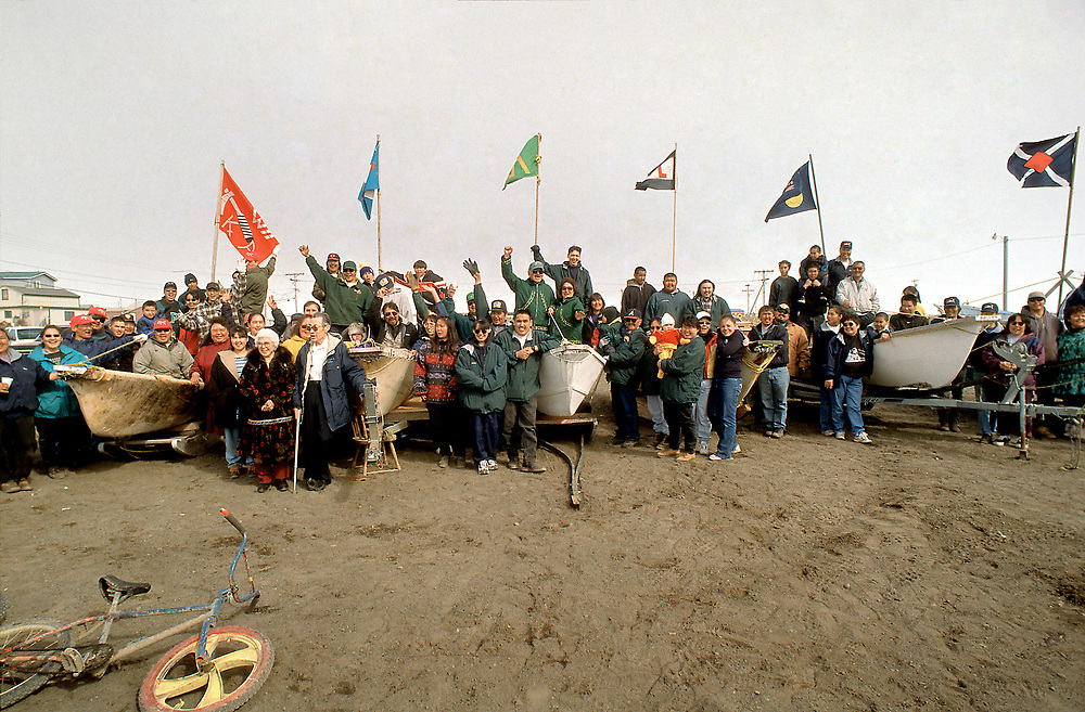Barrow, Alaska, Native whaling crews gathered on the beach for a group pictre