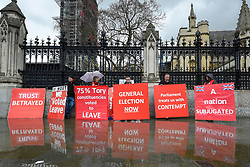 © Licensed to London News Pictures. 18/03/2019. LONDON, UK.  Leave protesters outside the Houses of Parliament.  Theresa May, Prime Minister, is considering requesting the European Union for a long delay to article 50 if she determines that MPs will reject her Brexit deal in a meaningful vote for a third time..  Photo credit: Stephen Chung/LNP