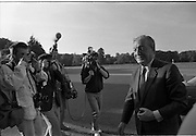 Dissolution Of The 25th Dáil.  (S4)..1989..25.05.1989..05.25.1989..25th May 1989..At the request of An Taoiseach,Mr Charles Haughey TD, President Patrick Hillery agreed to sign the order for the dissolution of the 25th Dáil. Fianna Fáil the outgoing government held the majority at 81 seats. This signing formally began the general election campaign for the 26th Dáil...An Taoiseach, Mr Charles Haughey TD, is pictured arriving at Áras an Uachtaráin for the signing of the order to dissolve the 25th Dáil.