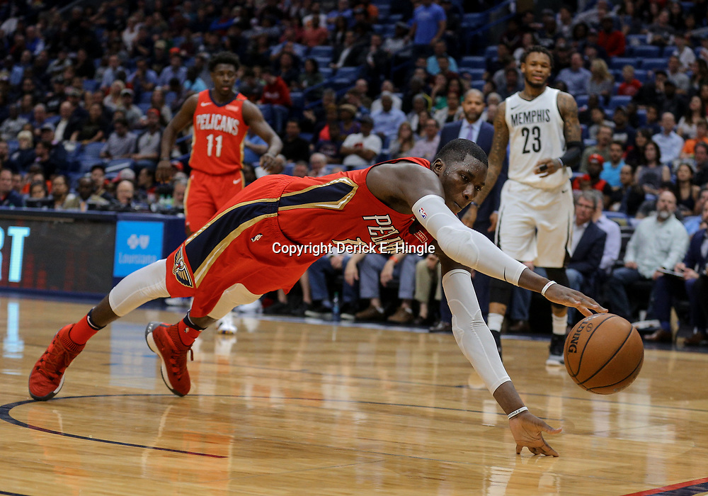 Apr 4, 2018; New Orleans, LA, USA; New Orleans Pelicans forward Cheick Diallo (13) dives in an attempt to save a loose ball during the second quarter against the Memphis Grizzlies at the Smoothie King Center. Mandatory Credit: Derick E. Hingle-USA TODAY Sports