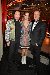 Left to right, Alexandre de Betak, Sofia Sanchez de Betak and NICHOLAS KIRKWOOD at The Naked Heart Foundation's Fabulous Fund Fair hosted by Natalia Vodianova and Karlie Kloss at Old Billingsgate Market, 1 Old Billingsgate Walk, London on 20th February 2016.