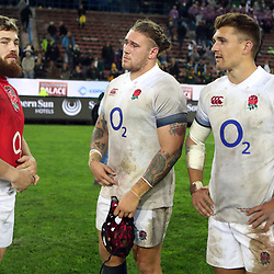 Luke Cowan-Dickie with Harry Williams and Henry Slade of England during the 2018 Castle Lager Incoming Series 3rd Test match between South Africa and England at Newlands Rugby Stadium,Cape Town,South Africa. 23,06,2018 Photo by (Steve Haag JMP)