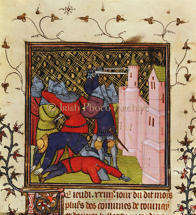 Hand-to-hand fighting with swords in defence of a castle. 14th century manuscript. British Museum