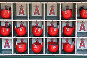 ANAHEIM, CA - JULY 21:  Batting helmets are placed in bins before the Los Angeles Angels of Anaheim game against the Texas Rangers on July 21, 2011 at Angel Stadium in Anaheim, California. The Angels won the game in a 1-0 shutout. (Photo by Paul Spinelli/MLB Photos via Getty Images)