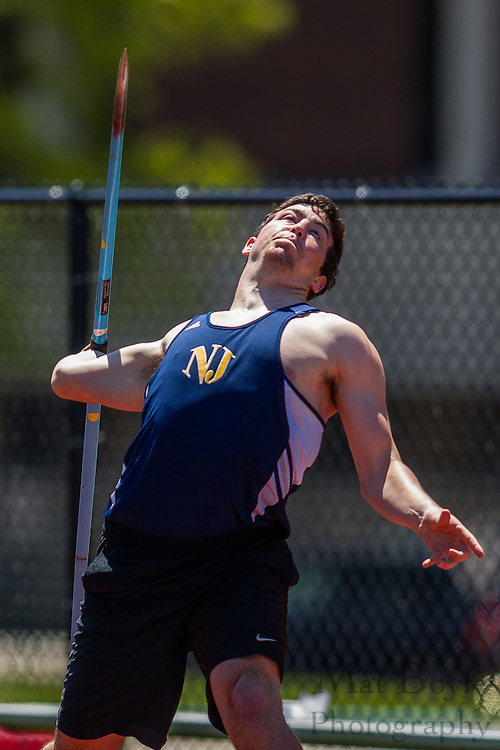 The College of New Jersey's Matt Rafferty competes in the men's javelin at the NJAC Track and Field Championships at Richard Wacker Stadium on the campus of  Rowan University  in Glassboro, NJ on Saturday May 4, 2013. (photo / Mat Boyle)