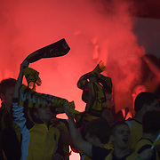 Mariners fans as a flare is lit during the AFC Champions League group H match between Central Coast Mariners (Australia) and Kawasaki Frontale (Japan) at Gosford Stadium, Australia on April 08, 2009. Kawasaki won the game 5-0.  Photo Tim Clayton