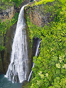 Aerial view of Manawaiopuna Falls, Kauai, Hawaii, featured in Jurassic Park movie.