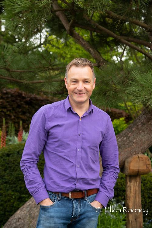 Chris Beardshaw, designer of the Morgan Stanley Garden at the RHS Chelsea Flower Show 2019, London, UK