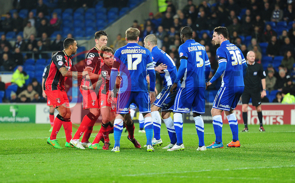 Bournemouth players line up behind each other prior to a corner kick being made. - Photo mandatory by-line: Alex James/JMP - Mobile: 07966 386802 - 17/03/2015 - SPORT - Football - Cardiff - Cardiff City Stadium - Cardiff City v AFC Bournemouth - Sky Bet Championship