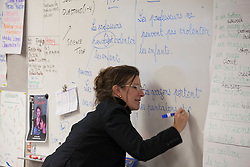 Scenes of  the Santa Rosa French-American Charter School in Santa Rosa,  California . Teacher Sandrine Van Geertsom Coin  instructs her class.