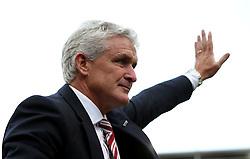 Stoke City manager Mark Hughes waves to the fans after his sides win over Sunderland manager David Moyes - Mandatory by-line: Robbie Stephenson/JMP - 15/10/2016 - FOOTBALL - Bet365 Stadium - Stoke-on-Trent, England - Stoke City v Sunderland - Premier League