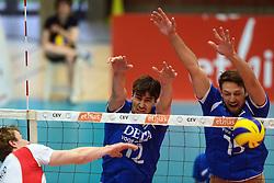 17-05-2013 VOLLEYBAL: BELGIE - NEDERLAND: KORTRIJK<br /> Nederland wint de eerste oefenwedstrijd met 3-0 van Belgie / Wytze Kooistra, Thomas Koelewijn<br /> &copy;2013-FotoHoogendoorn.nl