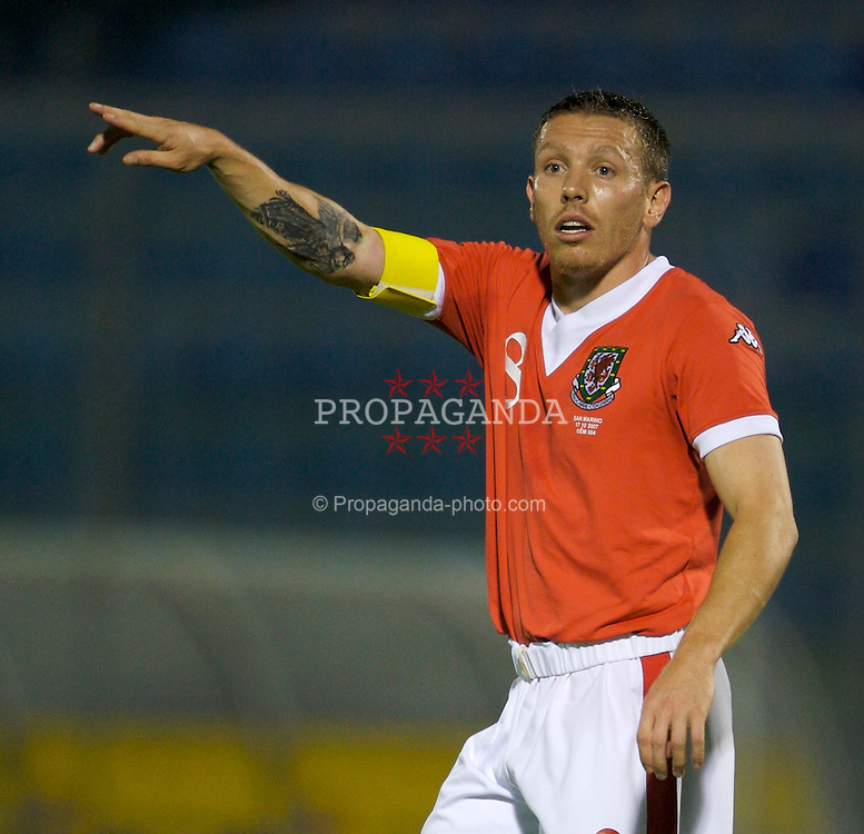 San Marino, San Marino - Wednesday, October 17, 2007: Wales' captain Craig Bellamy in action against San Marino during the Group D UEFA Euro 2008 Qualifying match at the Serravalle Stadium. (Photo by David Rawcliffe/Propaganda)