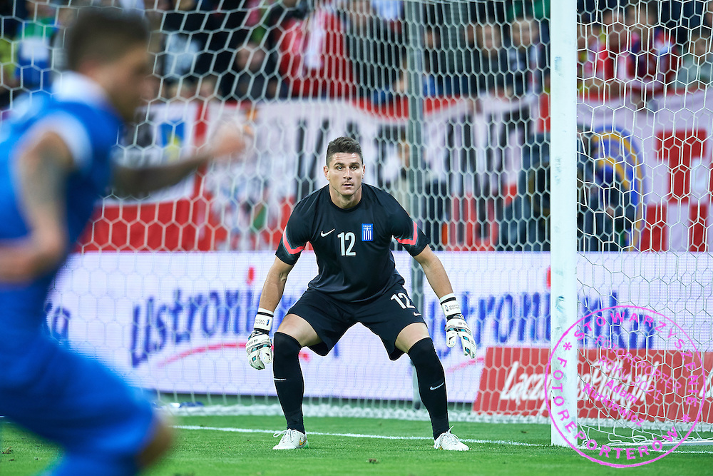 Goalkeeper Markos Vellidis from Greece in action during international friendly soccer match between Poland and Greece at PGE Arena Stadium on June 16, 2015 in Gdansk, Poland.<br /> Poland, Gdansk, June 16, 2015<br /> <br /> Picture also available in RAW (NEF) or TIFF format on special request.<br /> <br /> For editorial use only. Any commercial or promotional use requires permission.<br /> <br /> Adam Nurkiewicz declares that he has no rights to the image of people at the photographs of his authorship.<br /> <br /> Mandatory credit:<br /> Photo by &copy; Adam Nurkiewicz / Mediasport