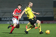 Kian Spence of Middlesbrough (52) closes down the ball during the EFL Trophy group stage match between Burton Albion and U21 Middlesbrough at the Pirelli Stadium, Burton upon Trent, England on 7 November 2018.