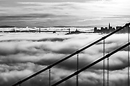 Sunrise over Golden Gate Bridge with City and Bay Bridge.  Printed on archival smooth matte paper, 24x20 inches, catalog _0355.  Limited edition of 50