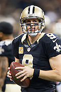 NEW ORLEANS, LA - NOVEMBER 8:  Drew Brees #9 of the New Orleans Saints on the sidelines during a game against the Tennessee Titans at Mercedes-Benz Superdome on November 8, 2015 in New Orleans, Louisiana.  The Titans defeated the Saints in overtime 34-28.  (Photo by Wesley Hitt/Getty Images) *** Local Caption *** Drew Brees
