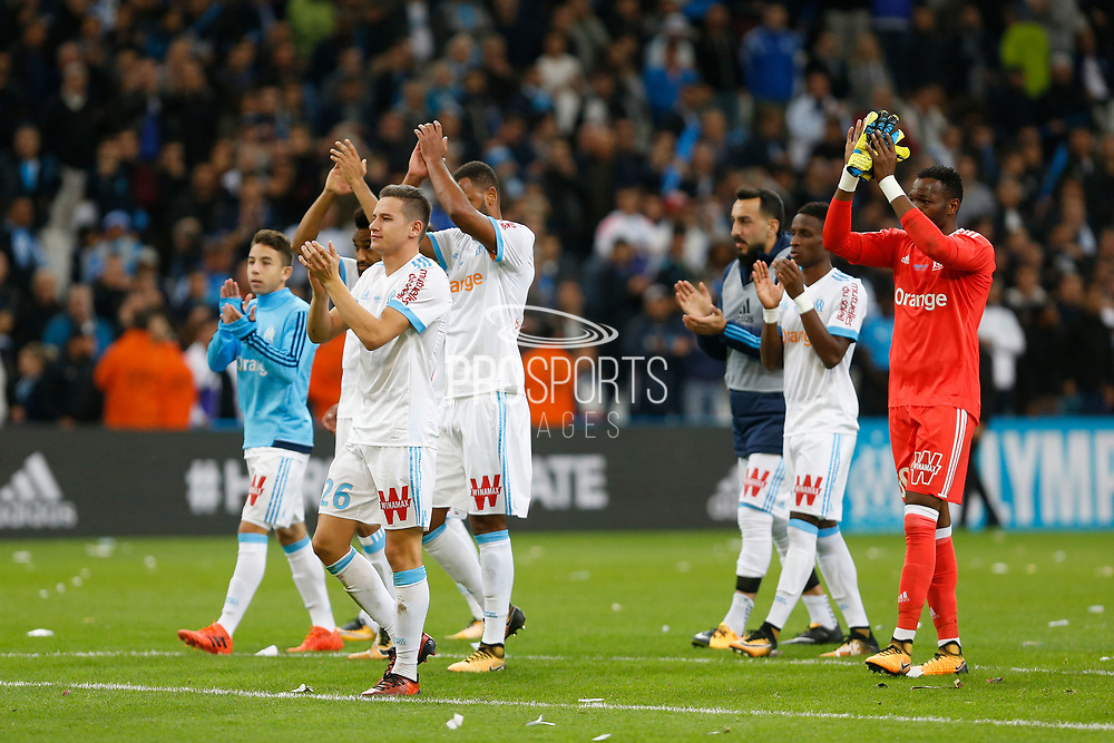 OM players after the French Championship Ligue 1 football match between Olympique de Marseille and Paris Saint-Germain on October 22, 2017 at Orange Velodrome stadium in Marseille, France - Photo Philippe Laurenson / ProSportsImages / DPPI
