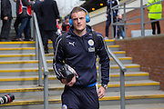 Leicester City forward Jamie Vardy (9) arrives at the ground before the Barclays Premier League match between Crystal Palace and Leicester City at Selhurst Park, London, England on 19 March 2016. Photo by Phil Duncan.