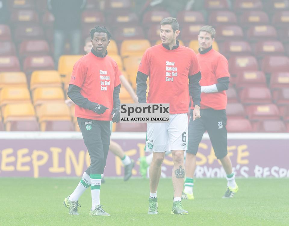 Efe Ambrose and Nir Biton warmup before the Scottish Premiership match between Motherwell and Celtic (c) ROSS EAGLESHAM | Sportpix.co.uk