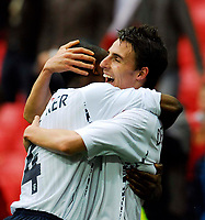 Photo: Alan Crowhurst.<br />England U21 v Italy U21. International Friendly. 24/03/2007. England's Matt Derbyshire (R) celebrates his goal 3-2.