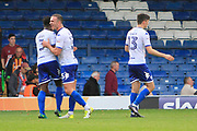 Bury defender Greg Leigh (3), Bury defender Tom Aldred (15) and Bury midfielder Callum Reilly (13) celebrate during the EFL Sky Bet League 1 match between Bury and Bradford City at the Energy Check Stadium at Gigg Lane, Bury, England on 14 October 2017. Photo by Richard Holmes.