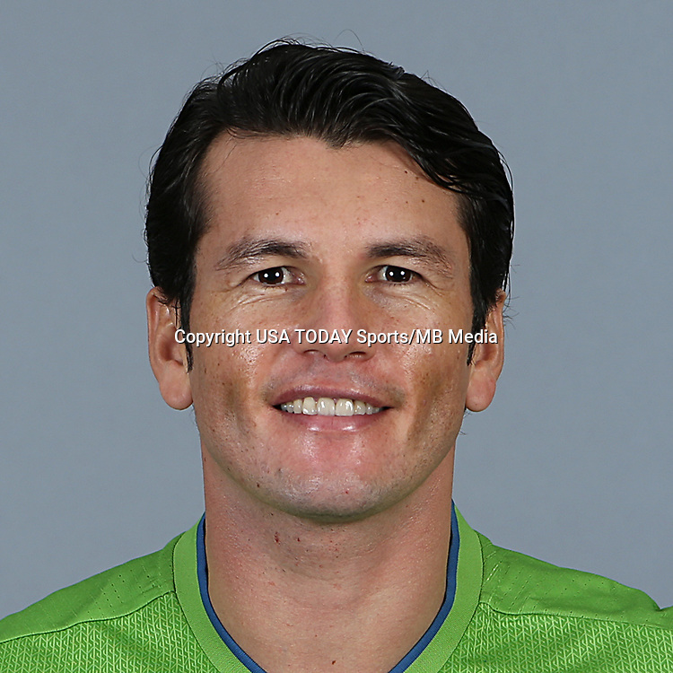 Feb 25, 2016; USA; Seattle Sounders FC player Nelson Valdez poses for a photo. Mandatory Credit: Corky Trewin-USA TODAY Sports