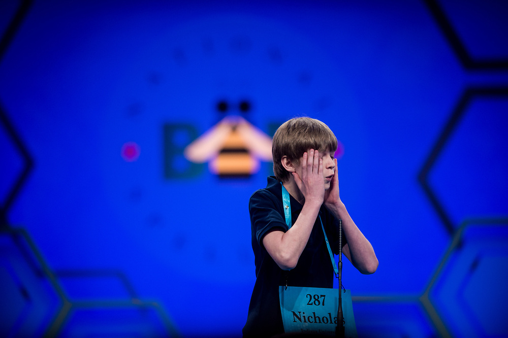 Nicholas Ivan, 13, from Carmel, Ind., participates in the finals of the 2017 Scripps National Spelling Bee on Thursday, June 1, 2017 at the Gaylord National Resort and Convention Center at National Harbor in Oxon Hill, Md.      Photo by Pete Marovich/UPI