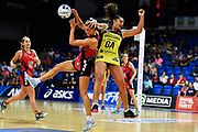 Tactix captain Jane Watson (L) and Central Pulse Tiana Metuarau (R).<br /> Pulse v Tactix, ANZ Premiership Super Sunday, The Trusts Arena, Auckland, New Zealand. 31 March 2019. © Copyright Image: Marc Shannon / www.photosport.nz.