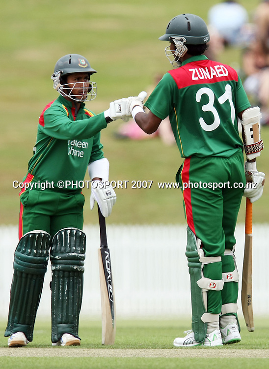 Bangladesh captain Mohammad Ashraful with Zunaed Siddique. Northern Knights v Bangladesh. One day tour cricket match. Seddon Park, Hamilton. Sunday 16 December 2007. Photo: Stephen Barker/PHOTOSPORT
