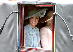 The Duchess of Cambridge in Windsor Great Park where members of the Royal family swap from cars to horse-drawn carriages on their journey from Windsor Castle to Ascot Racecourse.