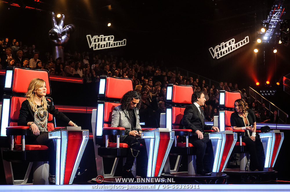 NLD/Hilversum/20141219- Finale The Voice of Holland 2014, coaches Ali B., Marco Borsato en Trijntje Oosterhuis