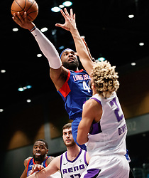 November 19, 2017 - Reno, Nevada, U.S - Long Island Nets Forward JJ MOORE (44) shoots over Reno Bighorns Guard CODY DEMPS (2) during the NBA G-League Basketball game between the Reno Bighorns and the Long Island Nets at the Reno Events Center in Reno, Nevada. (Credit Image: © Jeff Mulvihill via ZUMA Wire)