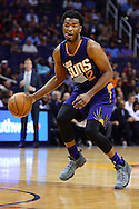 Nov 2, 2016; Phoenix, AZ, USA; Phoenix Suns guard Eric Bledsoe (2) handles the ball during the first half of the NBA game against the Portland Trail Blazers at Talking Stick Resort Arena. The Suns defeated the Trail Blazers 118-115 in overtime. Mandatory Credit: Jennifer Stewart-USA TODAY Sports