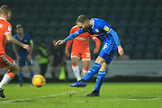 Matty Done shoots during the EFL Sky Bet League 1 match between Rochdale and Blackpool at Spotland, Rochdale, England on 26 December 2018.