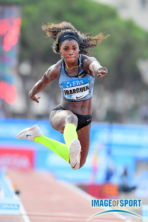 Caterine Ibarguen (COL) places sixth in the women's triple jump at 47-0 1/4 (14.33m) during the women's triple jump in the  Herculis Monaco in an IAAF Diamond League meet , Thursday, July 11, 2019, in Port Hercules, Monaco.(Jiro Mochizuki/Image of Sport)